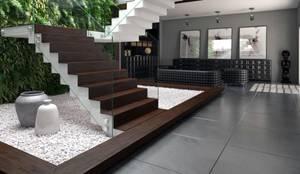 Escada emoldurada em Madeira: Paisagismo de interior  por 8|Haus