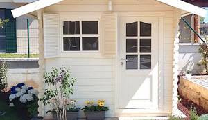 Doppio garage in legno 6x6 spessore 44 mm di dekalux homify - Dimensioni garage doppio ...