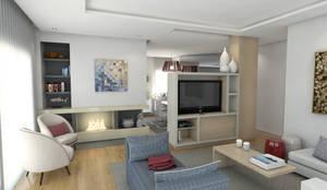 Casa BL18 - Sala de estar - simulação 3D: Sala de estar  por The Spacealist - Arquitectura e Interiores