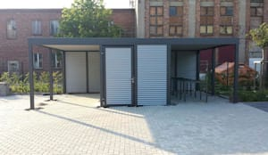 Überdachung für Fahrräder mit Geräteraum:  Garage/Schuppen von Carport-Schmiede GmbH & Co. KG - Hersteller für Metallcarports und Stahlcarports