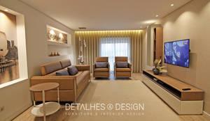 Projeto Design de Interiores - Open space (Hall, Sala e Cozinha):   por Detalhes & Design