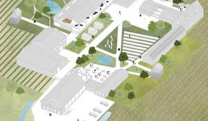 Binnenplaats met nieuwe bebouwing:   door Kevin Veenhuizen Architects