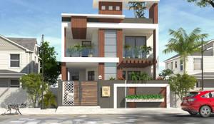 Exterior design for mr. Surendra Jain green nagar jaipur:   by divine architects