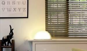 幸福感激升!使用木質系窗簾創造北歐風客廳-實木百葉簾:  客廳 by MSBT 幔室布緹