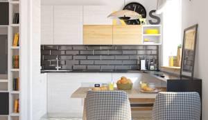 Дизайн двухкомнатной квартиры в скандинавском стиле: Кухня в . Автор – ЕвроДом