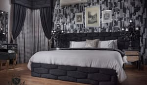 Ultra modern luxury bedroom  Never be scared of black:  غرفة نوم تنفيذ NADIA .Gallery