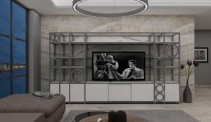 PRATIKIZ MIMARLIK/ ARCHITECTURE – Salon Tv ünitesi:  tarz Oturma Odası