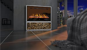 Wandkamin ohne Schornstein:  Wohnzimmer von muenkel design - Elektrokamine aus Großentaft