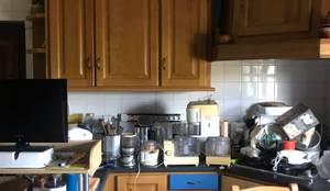 Cozinha - Vista lateral para a zona do fogão da Casa de Campo :   por Rima Design