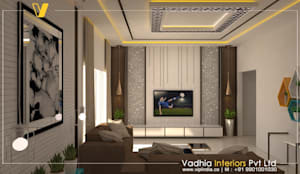 Badiyani's Living:  Living room by Vadhia Interiors Pvt Ltd