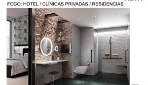 Foco: Hotel / Clínicas privadas / Residencias: Baños de estilo  por Arquideco