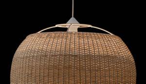 Lámpara modelo domo: Balcones y terrazas de estilo  por ELMIMBRE Spa - Diseño, Fabricación y Comercialización de productos en Mimbre - Región Metropolitana - Chile