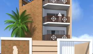 Linda fachada integrada com muro e o portão de acesso:   por ARQ-PB Arquitetura e Construção