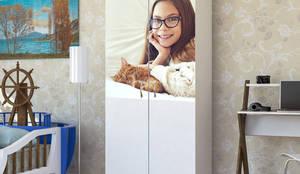 Candy Mobilyam – Kız ve Kedisi resimli özel tasarım çocuk odası gardırop:  tarz Çocuk Odası
