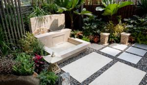 水池採用精緻的處理手法,把過濾、排水等設施都隱藏起來,讓水池看起來清澈乾淨:  花園 by 大地工房景觀公司,