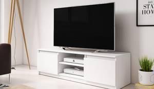 Biała szafka pod telewizor: styl , w kategorii Salon zaprojektowany przez Meble Minio