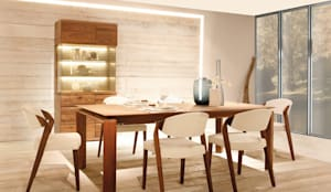Table de repas LOFT et chaises SPIN en noyer massif, design de Martin Ballendat:  de style  par Imagine Outlet, Moderne Bois Effet bois