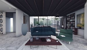صالة المعيشة Living Space:  Living room تنفيذ Anastomosis Design Lab,
