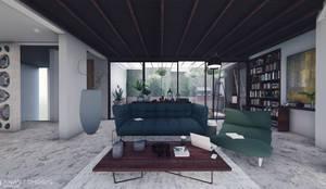 صالة المعيشة Living Space:  Living room تنفيذ Anastomosis Design Lab