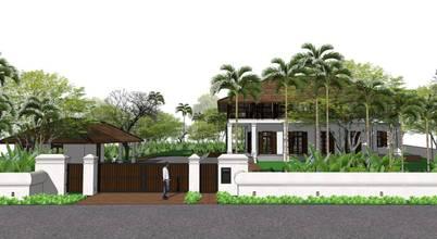 ภาพ 3D ของบ้านหลังใหญ่พร้อมสวนสดชื่นรอบบ้าน