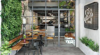 Ấn tượng với thiết kế quán coffee xanh phong cách công nghiệp