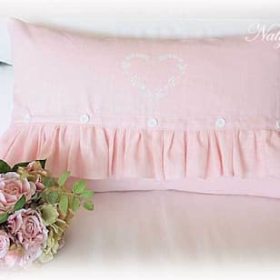 Coussin lin rose coeur