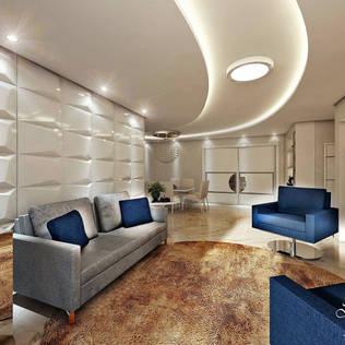 SALA DE ESTAR: por Deborah Iachinski Arquitetura & Interiores