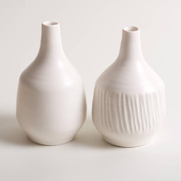 Handmade fat porcelain bottles: Artwork by Linda Bloomfield