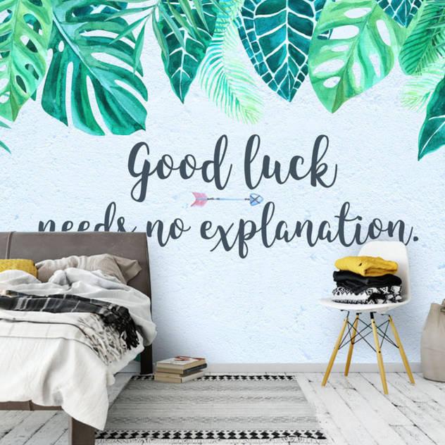 Duvarkapla.com – Good Luck Tasarımlı duvar kağıdımız: tropikal tarz tarz Duvar & Zemin