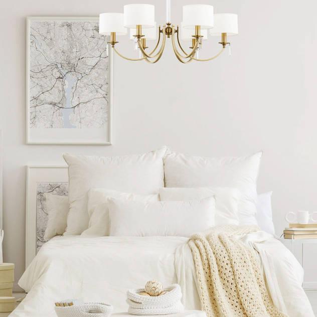 White bedroom with elegant Chandelier Lighting ZEVIO 6 Lights Bedroom Luxury Chandelier BedroomLighting Copper/Bronze/Brass White