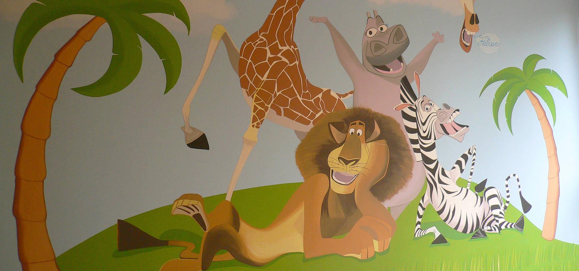 Murales infantiles con personajes de cuentos by murales for Murales infantiles