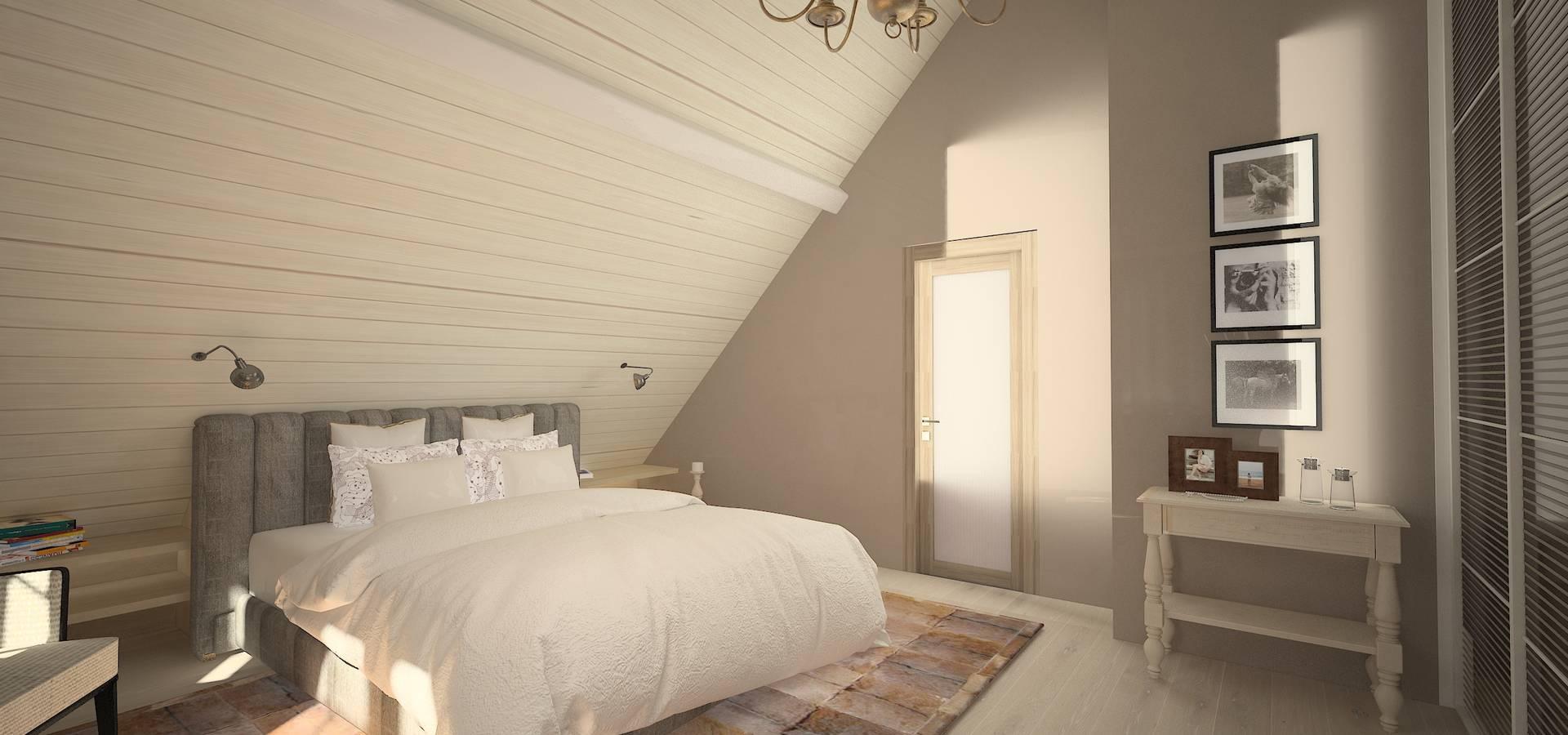 Chambre à couche moderne avec des éléments rustique von Veronika ...