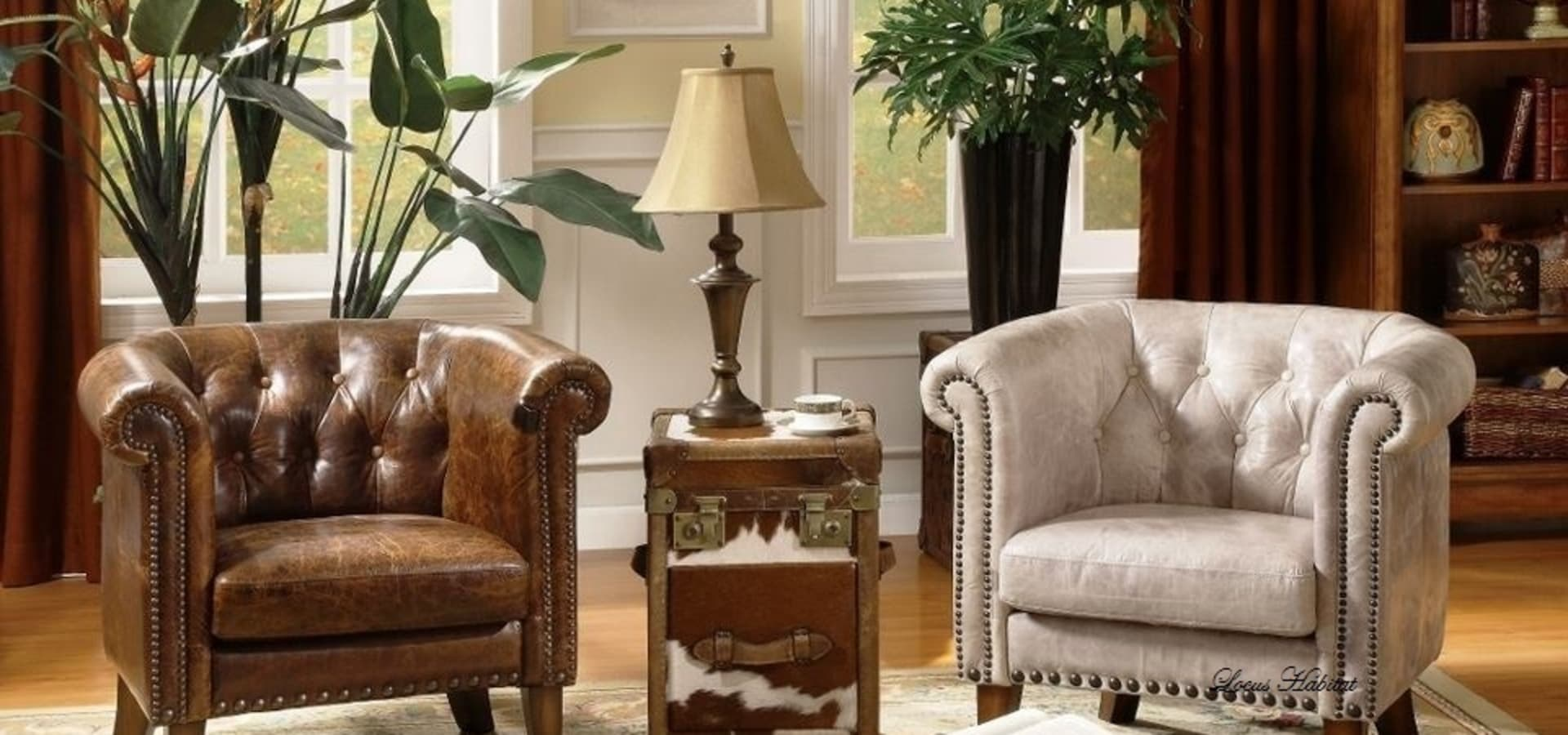 Vintage design living room with chesterfield sofa by locus - Chesterfield sofa living room ideas ...