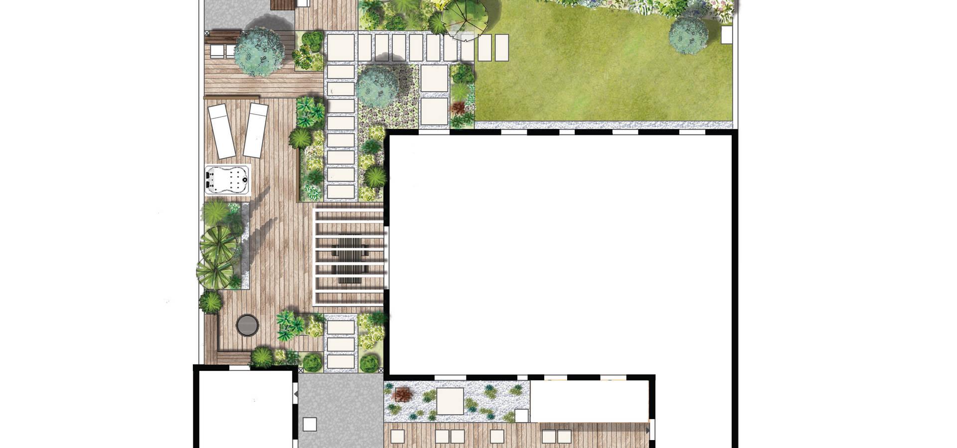 jardin contemporain por aralia paysages homify. Black Bedroom Furniture Sets. Home Design Ideas