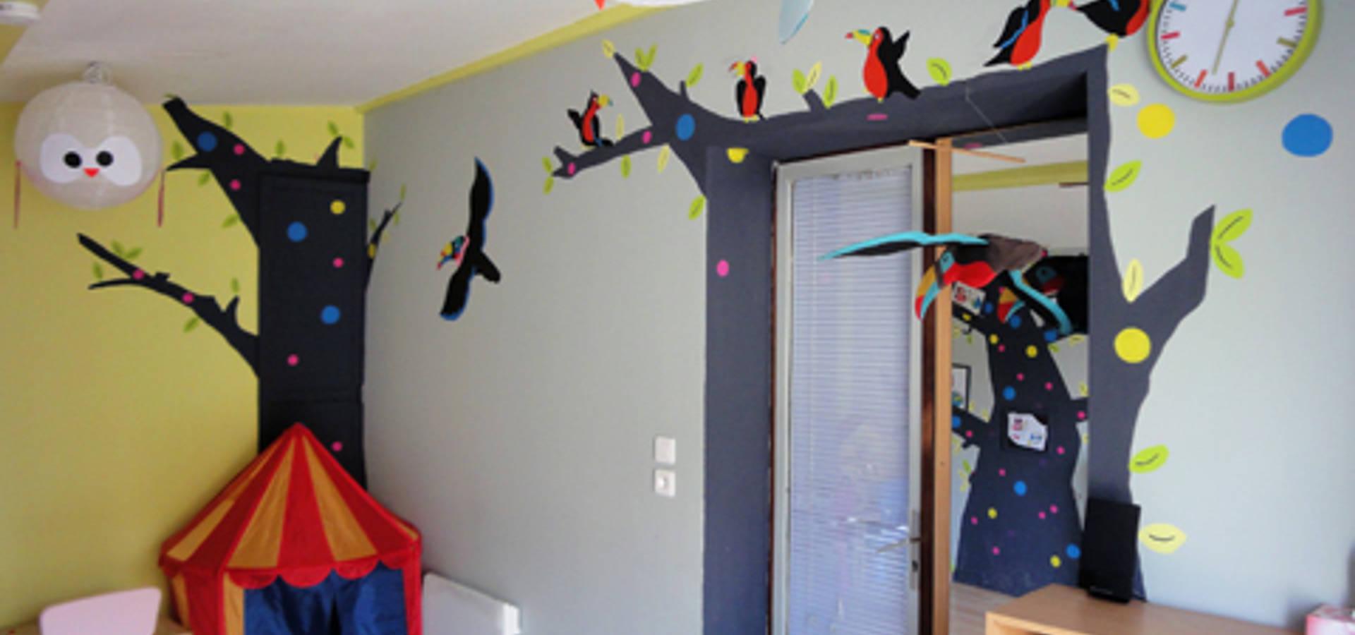 Peinture murale d coration chambre d 39 enfant le petit prince en origami de pigment des - Decoration chambre peinture murale ...