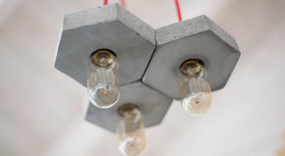 Креативные светильники из бетона и дерева - Bullsdesign