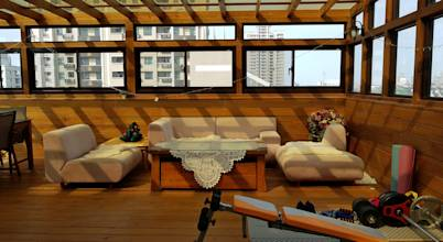 園匠工坊-採光罩 玻璃屋 小木屋 露台 南方松木作工程