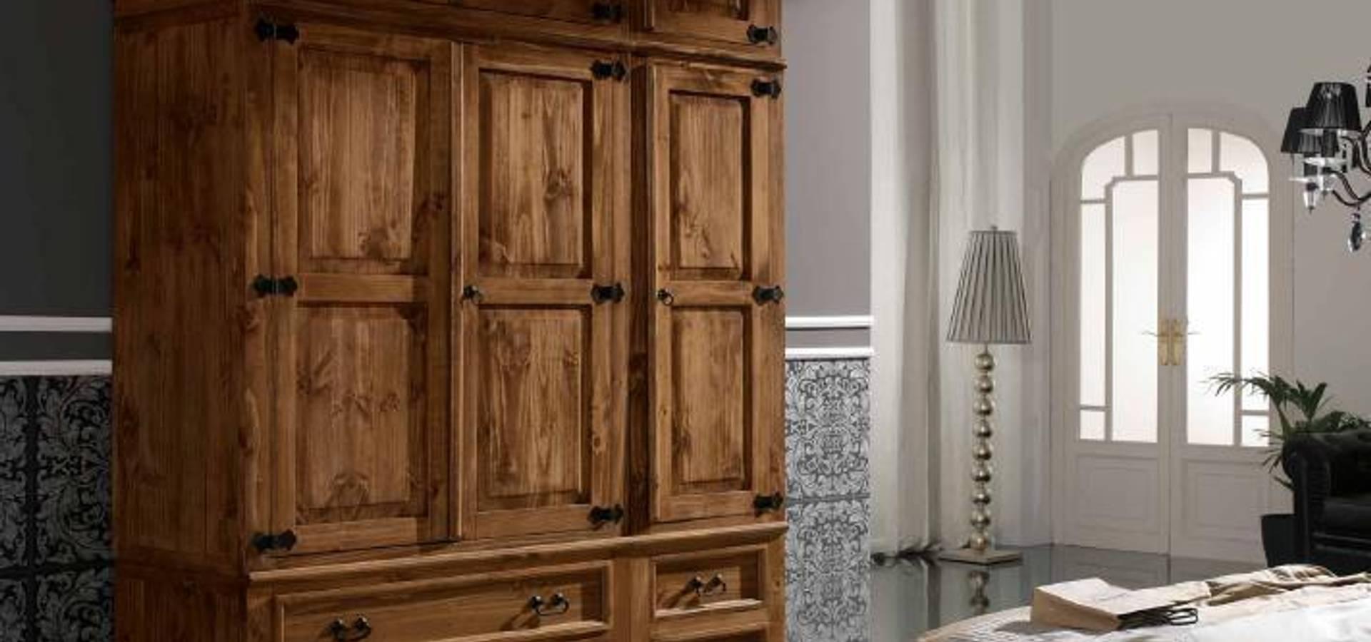 Armario r stico en madera maciza de silarte muebles for Como hacer herrajes rusticos