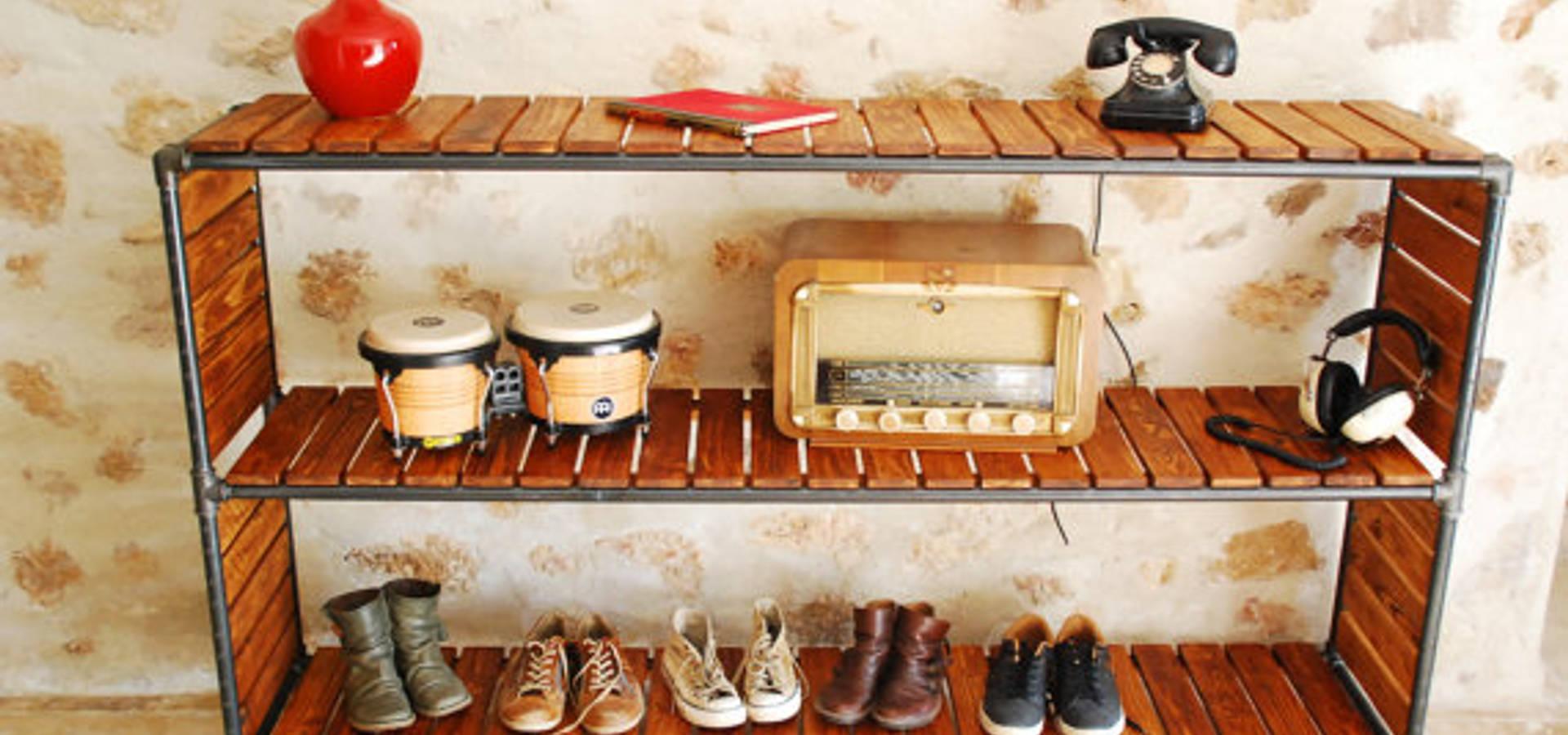 portant v tement penderie indus porte cintre industriel vintage en tuyau de fonte noire par la. Black Bedroom Furniture Sets. Home Design Ideas