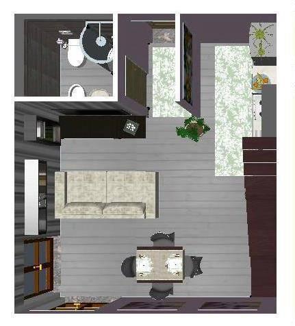 Proposta di arredo di un monolocale di studio di for Copia mobili di design