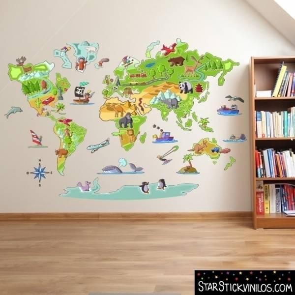 Vinilo decorativo de pared mapa mundi de starstick homify for Vinilos infantiles nino