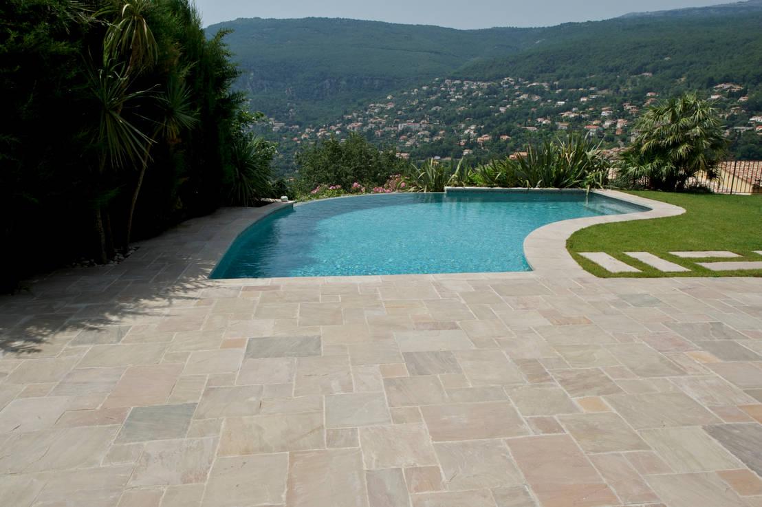 terrasse et piscine kandla gres beige par vente pierre. Black Bedroom Furniture Sets. Home Design Ideas
