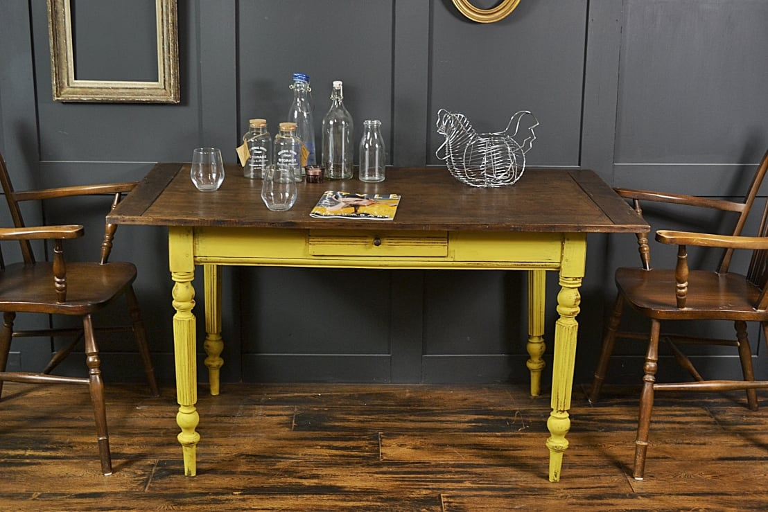 Reclaimed Top Shabby Chic Yellow Dining Side Table By The Treasure Trove Vintage Furniture