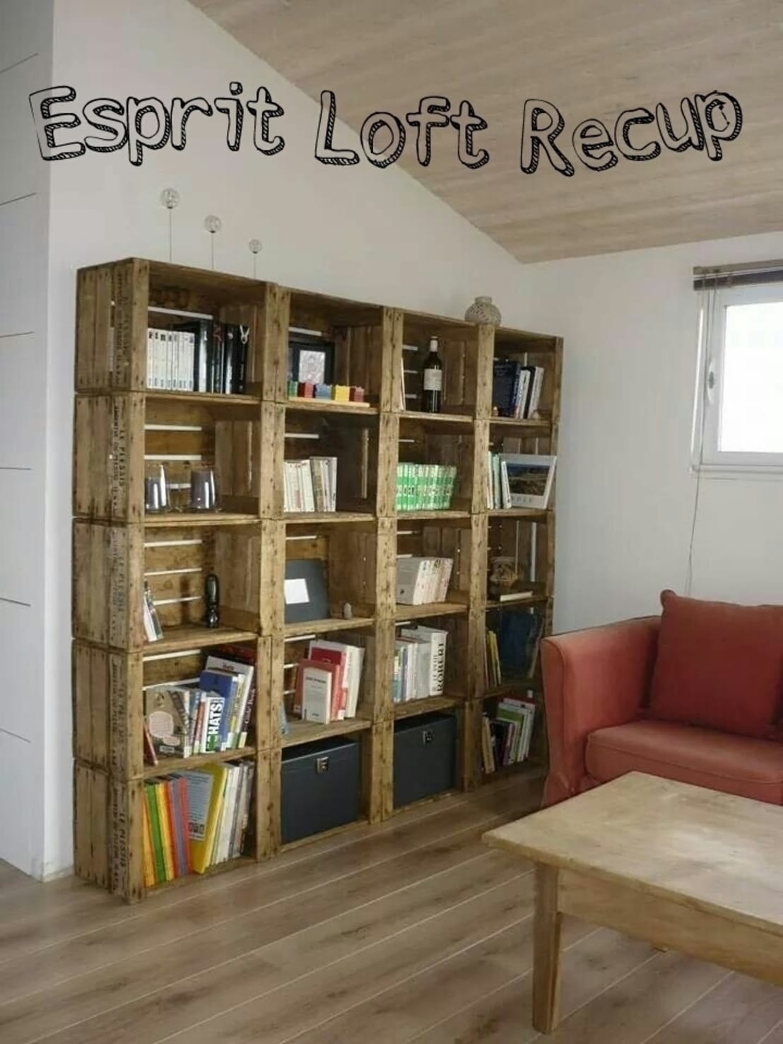 bibliotheques caisse a pomme de esprit loft recup homify. Black Bedroom Furniture Sets. Home Design Ideas