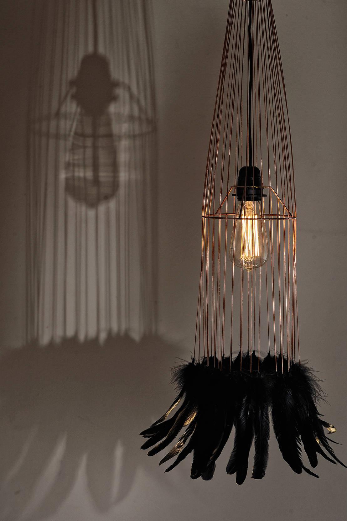 vega suspension a rienne en m tal et plumes de coq by. Black Bedroom Furniture Sets. Home Design Ideas