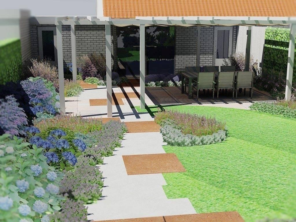 Kleine achtertuin als een moderne cottagestijl tuin by for Moderne kleine tuin