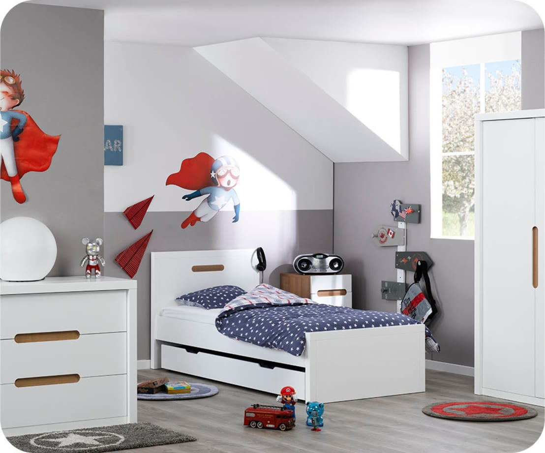 chambre enfant bow blanche par ma chambre d 39. Black Bedroom Furniture Sets. Home Design Ideas