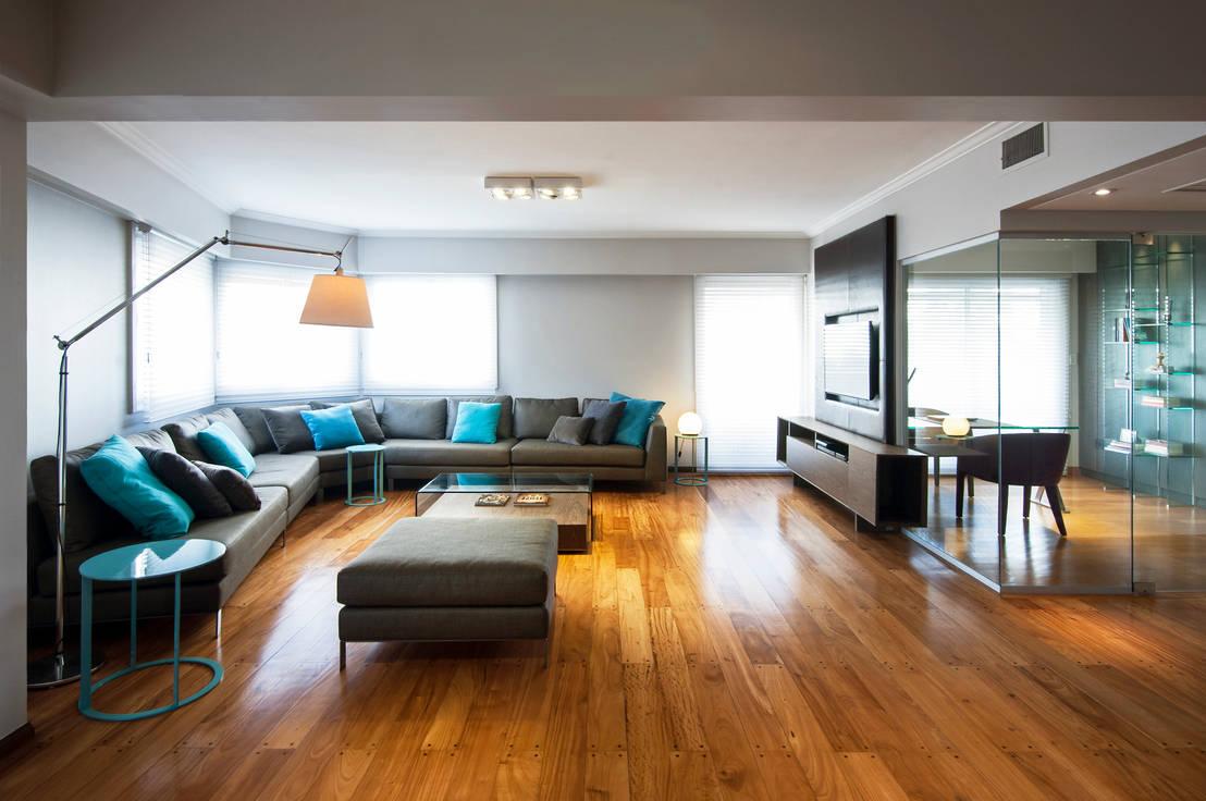 Ambientaci n del living con muebles esquineros for Ambientacion living comedor