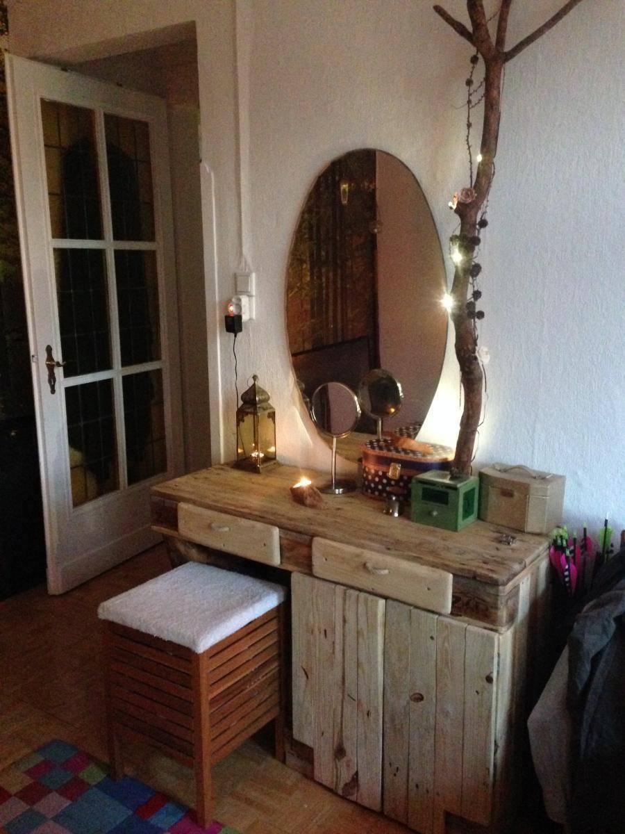 paletten schminktisch mit unterschrank und led beleuchtung. Black Bedroom Furniture Sets. Home Design Ideas