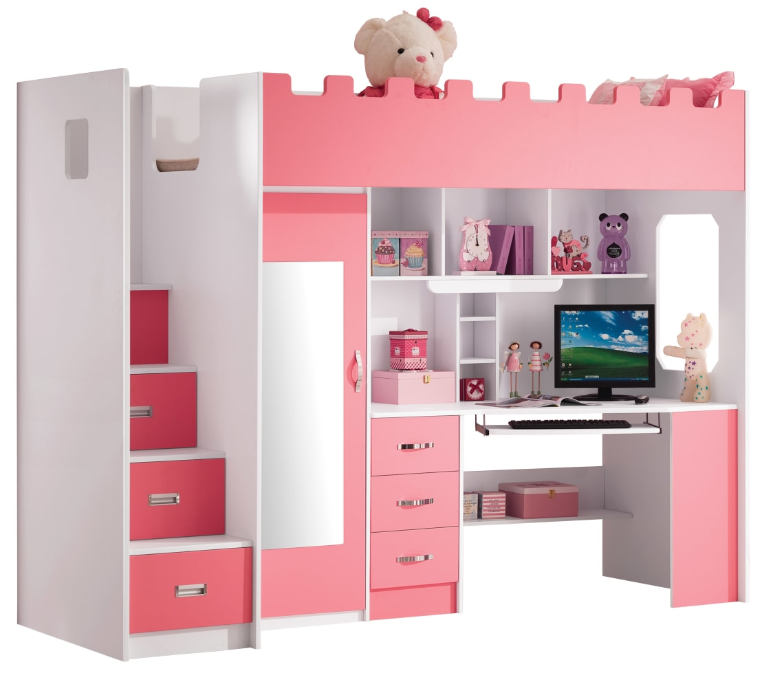 roze hoogslaper voor meisjes 39 chica 39 by. Black Bedroom Furniture Sets. Home Design Ideas
